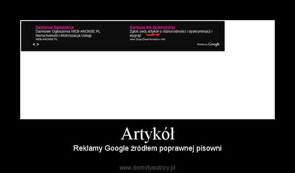 Artykół – Reklamy Google źródłem poprawnej pisowni