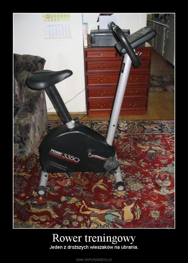 Rower treningowy – Jeden z droższych wieszaków na ubrania.