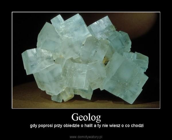 Geolog –  gdy poprosi przy obiedzie o halit a ty nie wiesz o co chodzi