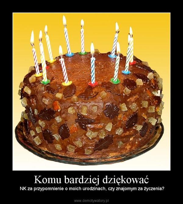 Komu bardziej dziękować –  NK za przypomnienie o moich urodzinach, czy znajomym za życzenia?