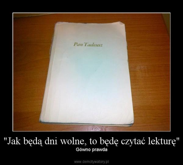 """""""Jak będą dni wolne, to będę czytać lekturę"""" – Gówno prawda"""