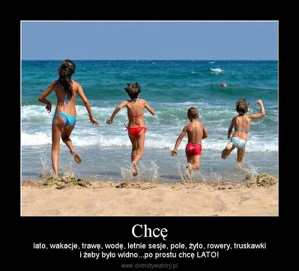 Chcę – lato, wakacje, trawę, wodę, letnie sesje, pole, żyto, rowery, truskawkii żeby było widno...po prostu chcę LATO!