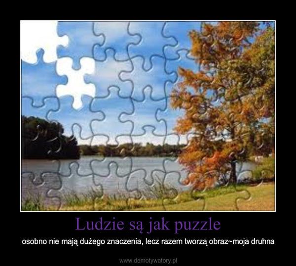 Ludzie są jak puzzle – osobno nie mają dużego znaczenia, lecz razem tworzą obraz~moja druhna