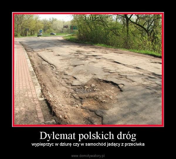 Dylemat polskich dróg – wypieprzyc w dziurę czy w samochód jadący z przeciwka