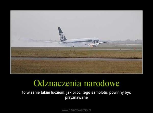 Odznaczenia narodowe – to właśnie takim ludziom, jak piloci tego samolotu, powinny być przyznawane