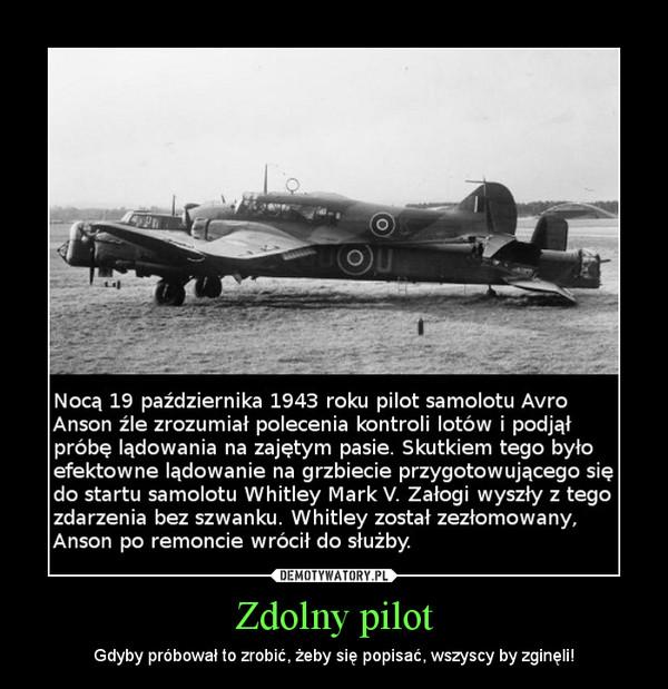 Zdolny pilot – Gdyby próbował to zrobić, żeby się popisać, wszyscy by zginęli!