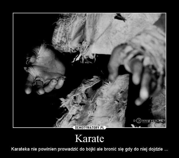 Karate – Karateka nie powinien prowadzić do bójki ale bronić się gdy do niej dojdzie ...