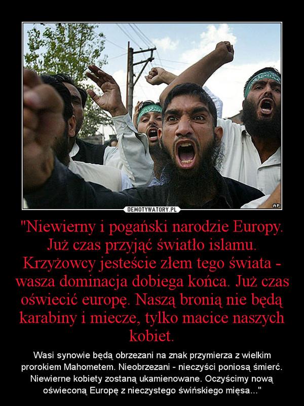 """""""Niewierny i pogański narodzie Europy. Już czas przyjąć światło islamu. Krzyżowcy jesteście złem tego świata - wasza dominacja dobiega końca. Już czas oświecić europę. Naszą bronią nie będą karabiny i miecze, tylko macice naszych kobiet. – Wasi synowie będą obrzezani na znak przymierza z wielkim prorokiem Mahometem. Nieobrzezani - nieczyści poniosą śmierć. Niewierne kobiety zostaną ukamienowane. Oczyścimy nową oświeconą Europę z nieczystego świńskiego mięsa..."""""""