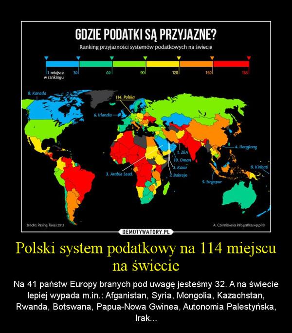 Polski system podatkowy na 114 miejscu na świecie – Na 41 państw Europy branych pod uwagę jesteśmy 32. A na świecie lepiej wypada m.in.: Afganistan, Syria, Mongolia, Kazachstan, Rwanda, Botswana, Papua-Nowa Gwinea, Autonomia Palestyńska, Irak...