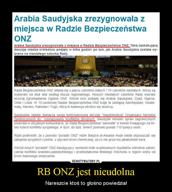 RB ONZ jest nieudolna – Nareszcie ktoś to głośno powiedział