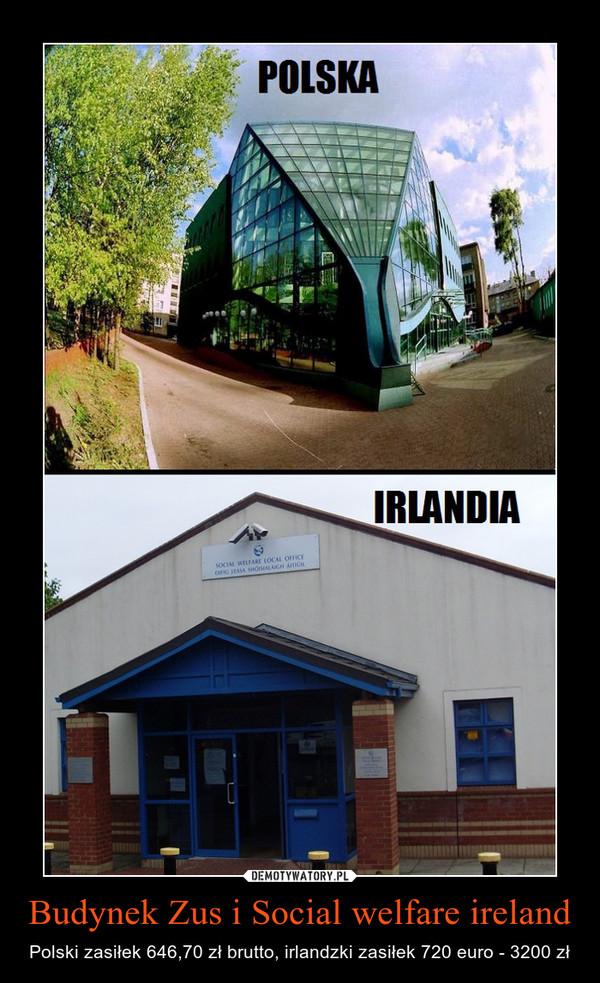 Budynek Zus i Social welfare ireland – Polski zasiłek 646,70 zł brutto, irlandzki zasiłek 720 euro - 3200 zł