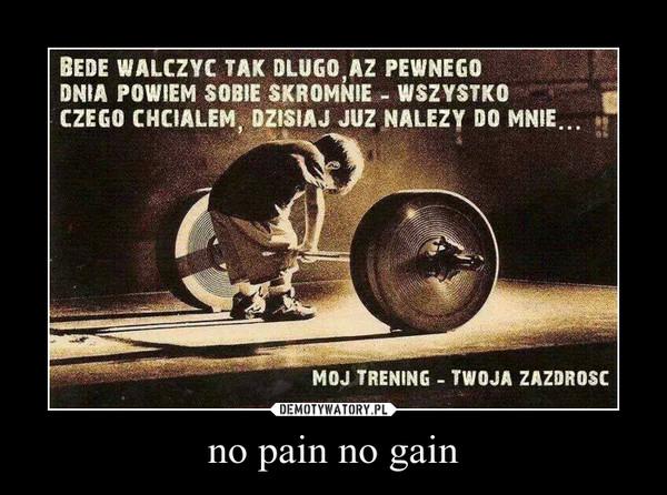 no pain no gain –