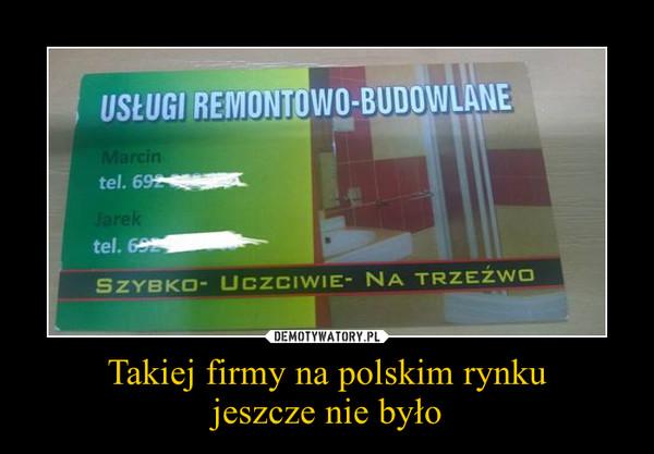 Takiej firmy na polskim rynkujeszcze nie było –