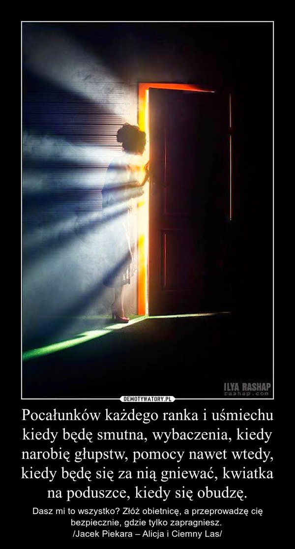 Pocałunków każdego ranka i uśmiechu kiedy będę smutna, wybaczenia, kiedy narobię głupstw, pomocy nawet wtedy, kiedy będę się za nią gniewać, kwiatka na poduszce, kiedy się obudzę. – Dasz mi to wszystko? Złóż obietnicę, a przeprowadzę cię bezpiecznie, gdzie tylko zapragniesz. /Jacek Piekara – Alicja i Ciemny Las/