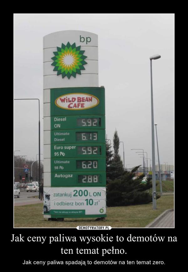 Jak ceny paliwa wysokie to demotów na ten temat pełno.