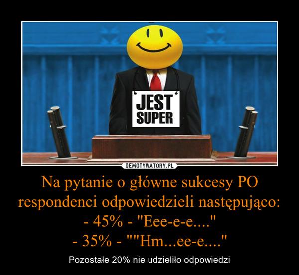 """Na pytanie o główne sukcesy PO respondenci odpowiedzieli następująco:- 45% - ''Eee-e-e....''- 35% - """"""""Hm...ee-e....'' – Pozostałe 20% nie udzieliło odpowiedzi"""