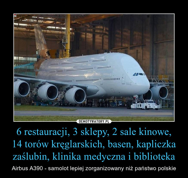 6 restauracji, 3 sklepy, 2 sale kinowe,14 torów kręglarskich, basen, kapliczka zaślubin, klinika medyczna i biblioteka – Airbus A390 - samolot lepiej zorganizowany niż państwo polskie
