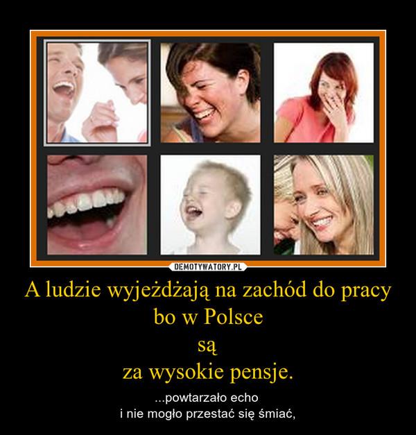 A ludzie wyjeżdżają na zachód do pracy bo w Polscesąza wysokie pensje. – ...powtarzało echo i nie mogło przestać się śmiać,