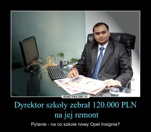 Dyrektor szkoły zebrał 120.000 PLN na jej remont – Pytanie - na co szkole nowy Opel Insignia?