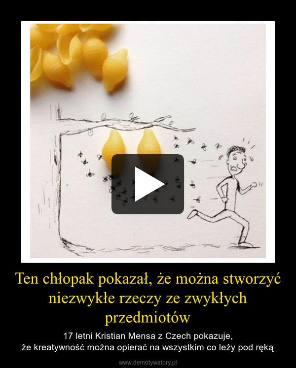 Ten chłopak pokazał, że można stworzyć niezwykłe rzeczy ze zwykłych przedmiotów – 17 letni Kristian Mensa z Czech pokazuje,że kreatywność można opierać na wszystkim co leży pod ręką