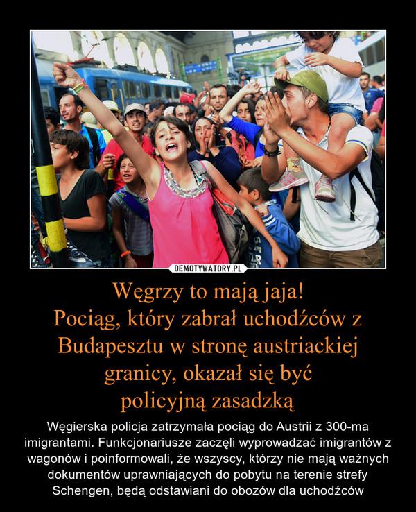 Węgrzy to mają jaja!Pociąg, który zabrał uchodźców z Budapesztu w stronę austriackiej granicy, okazał się byćpolicyjną zasadzką – Węgierska policja zatrzymała pociąg do Austrii z 300-ma imigrantami. Funkcjonariusze zaczęli wyprowadzać imigrantów z wagonów i poinformowali, że wszyscy, którzy nie mają ważnych dokumentów uprawniających do pobytu na terenie strefy Schengen, będą odstawiani do obozów dla uchodźców