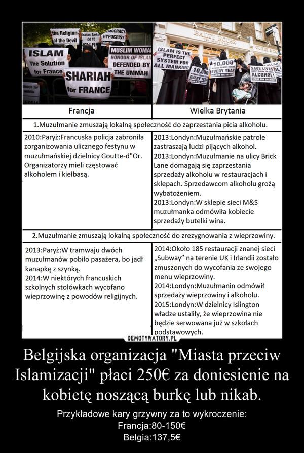 """Belgijska organizacja """"Miasta przeciw Islamizacji"""" płaci 250€ za doniesienie na kobietę noszącą burkę lub nikab. – Przykładowe kary grzywny za to wykroczenie:Francja:80-150€Belgia:137,5€"""
