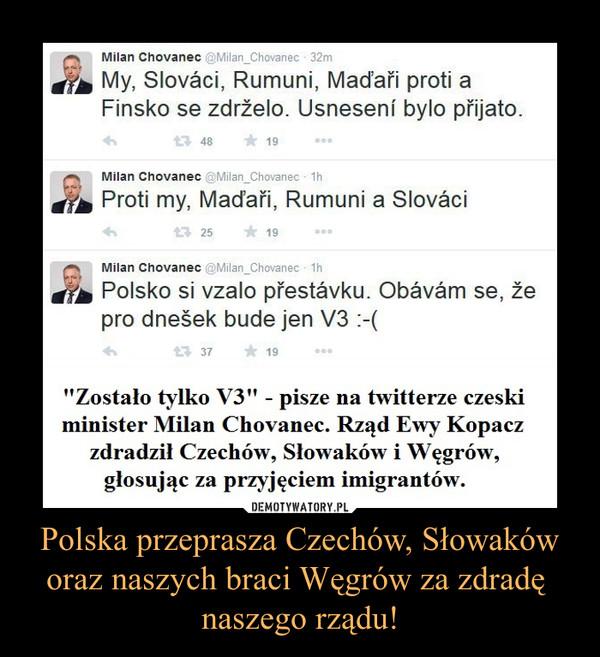 Polska przeprasza Czechów, Słowaków oraz naszych braci Węgrów za zdradę naszego rządu! –