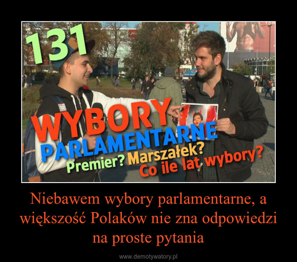 Niebawem wybory parlamentarne, a większość Polaków nie zna odpowiedzi na proste pytania –