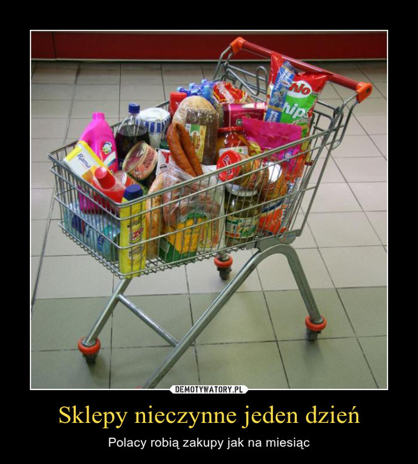 Sklepy nieczynne jeden dzień – Polacy robią zakupy jak na miesiąc