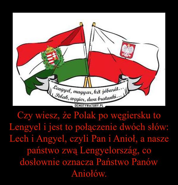 Czy wiesz, że Polak po węgiersku to Lengyel i jest to połączenie dwóch słów: Lech i Angyel, czyli Pan i Anioł, a nasze państwo zwą Lengyelország, co dosłownie oznacza Państwo Panów Aniołów. –