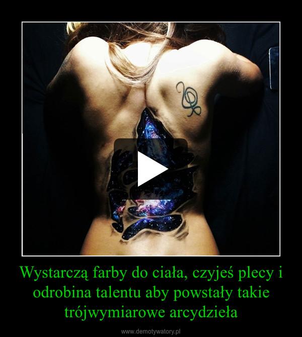 Wystarczą farby do ciała, czyjeś plecy i odrobina talentu aby powstały takie trójwymiarowe arcydzieła –