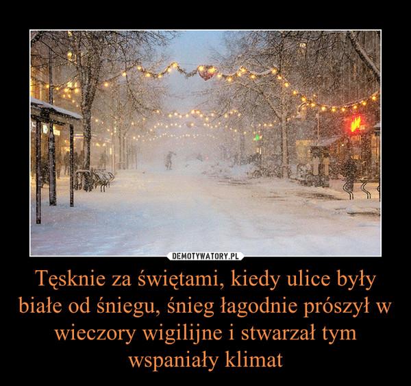 Tęsknie za świętami, kiedy ulice były białe od śniegu, śnieg łagodnie prószył w wieczory wigilijne i stwarzał tym wspaniały klimat –