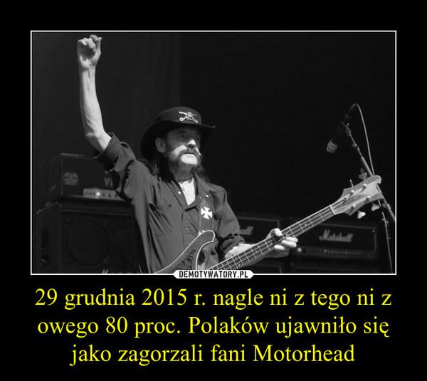 29 grudnia 2015 r. nagle ni z tego ni z owego 80 proc. Polaków ujawniło się jako zagorzali fani Motorhead –