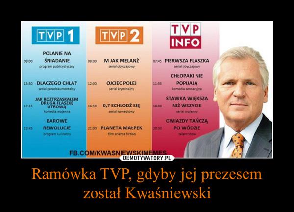 Ramówka TVP, gdyby jej prezesem został Kwaśniewski –