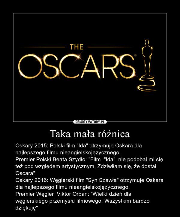 """Taka mała różnica – Oskary 2015: Polski film """"Ida"""" otrzymuje Oskara dla najlepszego filmu nieangielskojęzycznego.Premier Polski Beata Szydło: """"Film  """"Ida""""  nie podobał mi się też pod względem artystycznym. Zdziwiłam się, że dostał Oscara""""Oskary 2016: Węgierski film """"Syn Szawła"""" otrzymuje Oskara dla najlepszego filmu nieangielskojęzycznego.Premier Węgier  Viktor Orban: """"Wielki dzień dla węgierskiego przemysłu filmowego. Wszystkim bardzo dziękuję"""""""