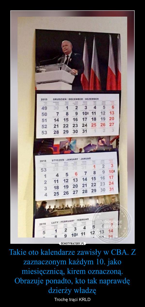 Takie oto kalendarze zawisły w CBA. Z zaznaczonym każdym 10. jako miesięcznicą, kirem oznaczoną. Obrazuje ponadto, kto tak naprawdę dzierży władzę – Trochę trąci KRLD
