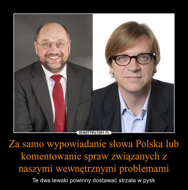 Za samo wypowiadanie słowa Polska lub komentowanie spraw związanych z naszymi wewnętrznymi problemami – Te dwa lewaki powinny dostawać strzała w pysk
