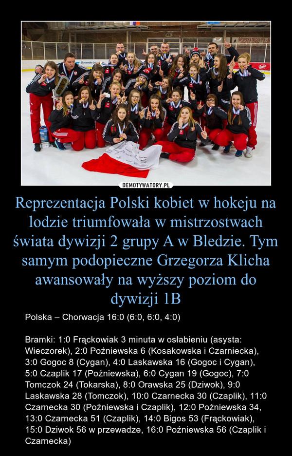 Reprezentacja Polski kobiet w hokeju na lodzie triumfowała w mistrzostwach świata dywizji 2 grupy A w Bledzie. Tym samym podopieczne Grzegorza Klicha awansowały na wyższy poziom do dywizji 1B – Polska – Chorwacja 16:0 (6:0, 6:0, 4:0)Bramki: 1:0 Frąckowiak 3 minuta w osłabieniu (asysta: Wieczorek), 2:0 Poźniewska 6 (Kosakowska i Czarniecka), 3:0 Gogoc 8 (Cygan), 4:0 Laskawska 16 (Gogoc i Cygan), 5:0 Czaplik 17 (Poźniewska), 6:0 Cygan 19 (Gogoc), 7:0 Tomczok 24 (Tokarska), 8:0 Orawska 25 (Dziwok), 9:0 Laskawska 28 (Tomczok), 10:0 Czarnecka 30 (Czaplik), 11:0 Czarnecka 30 (Poźniewska i Czaplik), 12:0 Poźniewska 34, 13:0 Czarnecka 51 (Czaplik), 14:0 Bigos 53 (Frąckowiak), 15:0 Dziwok 56 w przewadze, 16:0 Poźniewska 56 (Czaplik i Czarnecka)