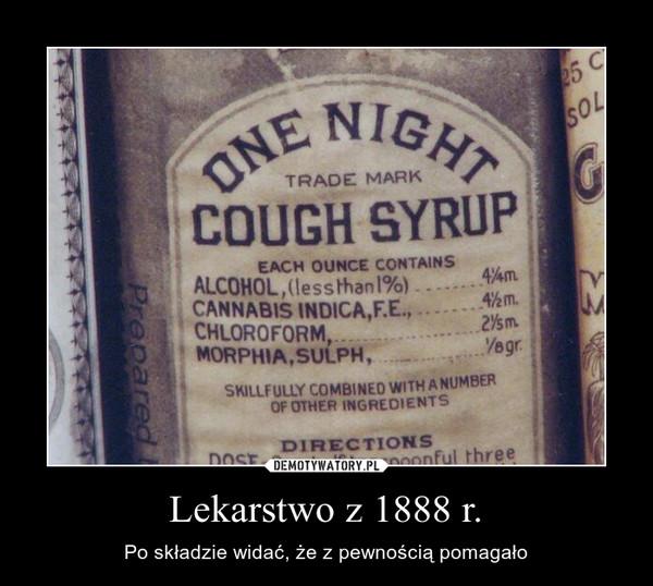 Lekarstwo z 1888 r. – Po składzie widać, że z pewnością pomagało