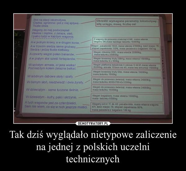 Tak dziś wyglądało nietypowe zaliczenie na jednej z polskich uczelni technicznych –