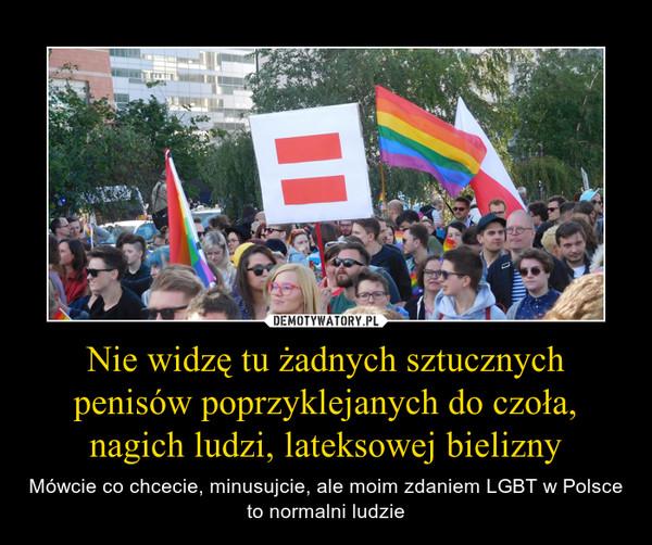 Nie widzę tu żadnych sztucznych penisów poprzyklejanych do czoła, nagich ludzi, lateksowej bielizny – Mówcie co chcecie, minusujcie, ale moim zdaniem LGBT w Polsce to normalni ludzie