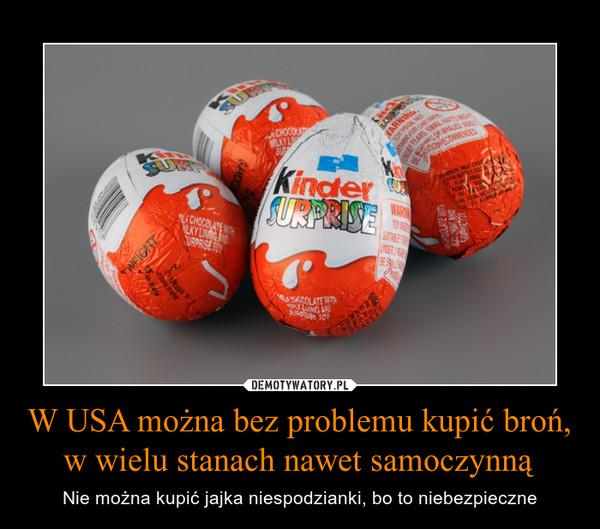 W USA można bez problemu kupić broń, w wielu stanach nawet samoczynną – Nie można kupić jajka niespodzianki, bo to niebezpieczne