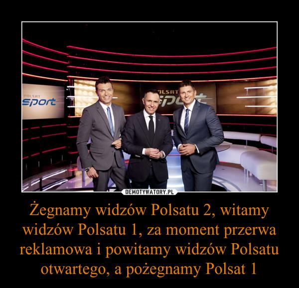 Żegnamy widzów Polsatu 2, witamy widzów Polsatu 1, za moment przerwa reklamowa i powitamy widzów Polsatu otwartego, a pożegnamy Polsat 1 –