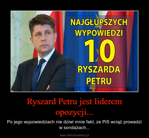 Ryszard Petru jest liderem opozycji... – Po jego wypowiedziach nie dziwi mnie fakt, ze PiS wciąż prowadzi w sondażach...