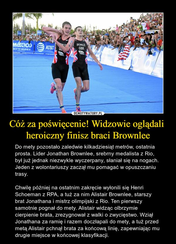 Cóż za poświęcenie! Widzowie oglądali heroiczny finisz braci Brownlee – Do mety pozostało zaledwie kilkadziesiąt metrów, ostatnia prosta. Lider Jonathan Brownlee, srebrny medalista z Rio, był już jednak niezwykle wyczerpany, słaniał się na nogach. Jeden z wolontariuszy zaczął mu pomagać w opuszczaniu trasy.Chwilę później na ostatnim zakręcie wyłonili się Henri Schoeman z RPA, a tuż za nim Alistair Brownlee, starszy brat Jonathana i mistrz olimpijski z Rio. Ten pierwszy samotnie pognał do mety. Alistair widząc olbrzymie cierpienie brata, zrezygnował z walki o zwycięstwo. Wziął Jonathana za ramię i razem doczłapali do mety, a tuż przed metą Alistair pchnął brata za końcową linię, zapewniając mu drugie miejsce w końcowej klasyfikacji.