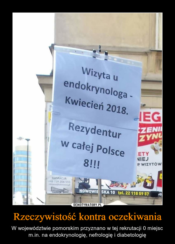 Rzeczywistość kontra oczekiwania – W województwie pomorskim przyznano w tej rekrutacji 0 miejsc m.in. na endokrynologię, nefrologię i diabetologię