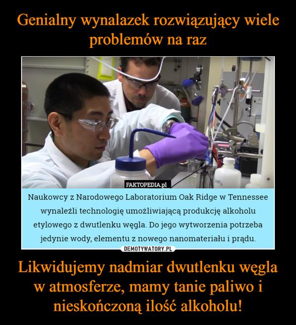 Likwidujemy nadmiar dwutlenku węgla w atmosferze, mamy tanie paliwo i nieskończoną ilość alkoholu! –  Naukowcy z Narodowego Laboratorium Oak Ridge w Tennesseewynaleźli technologię umożliwiającą produkcję alkoholuetylowego z dwutlenku węgla. Do jego wytworzenia potrzebajedynie wody, elementu z nowego nanomateriału i prądu.