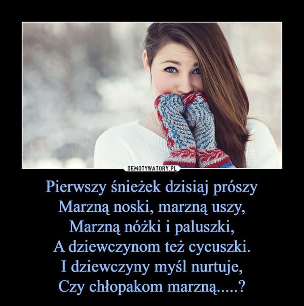 Pierwszy śnieżek dzisiaj prószyMarzną noski, marzną uszy,Marzną nóżki i paluszki,A dziewczynom też cycuszki.I dziewczyny myśl nurtuje,Czy chłopakom marzną.....? –