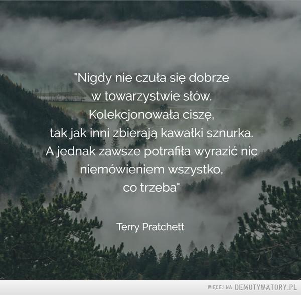 """Terry Pratchett –  """"Nigdy nie czuła się dobrzew towarzystwie stów.Kolekcjonowała ciszę,tak jak inni zbierają kawałki sznurka.A jednak zawsze potrafiła wyrazić nicniemówieniem wszystko,co trzeba"""""""