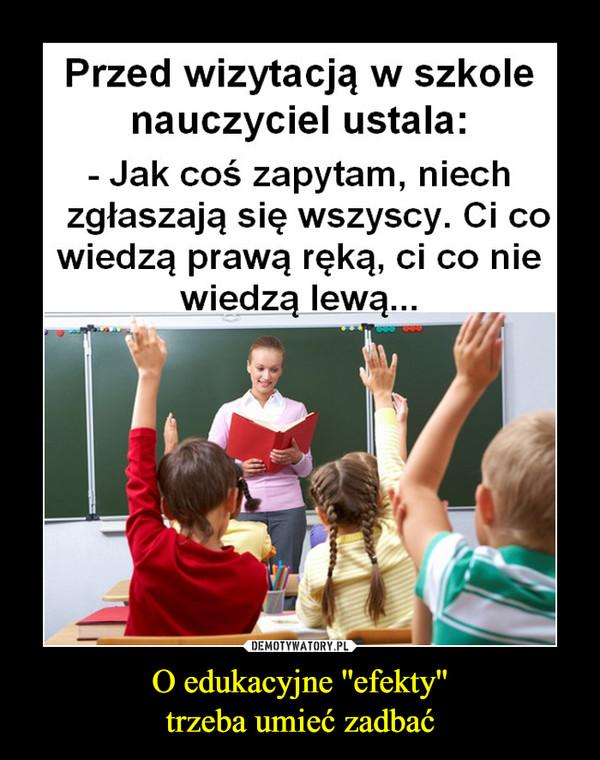 O edukacyjne ''efekty''trzeba umieć zadbać –  Przed wizytacją w szkolenauczyciel ustala:- Jak coś zapytam, niechzgłaszają się wszyscy. Ci cowiedzą prawą ręką, ci co niewiedzą lewą...